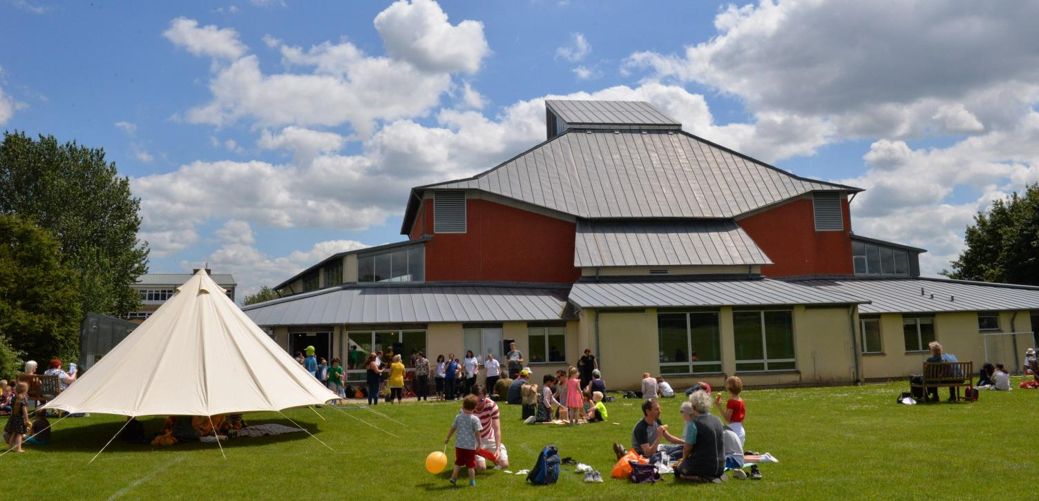 Wiltshire Music Centre from the back in the sunshine at Big Family Music Day 2019