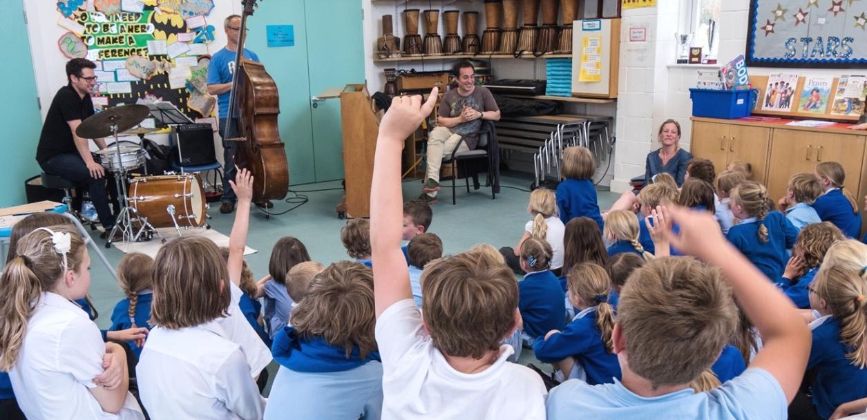 Jason Rebello Trio delivering a schools workshop